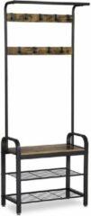 Bruine Parya Home - Kapstok Met 3 Planken - Schoenenrek – Kledingrek Met 5 Haken