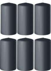 Enlightening Candles 8x Antraciet grijze cilinderkaarsen/stompkaarsen 6 x 15 cm 58 branduren - Geurloze kaarsen antraciet grijs - Woondecoraties