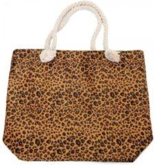 Merkloos / Sans marque Strandtas luipaard/panter print bruin 43 cm - Strandartikelen beach bags/shoppers met ritssluiting