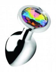 Zilveren Booty Sparks Rainbow Prism Gem Anal Plug - Medium - Silver