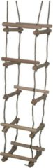 Beige Hermic - Touwladder 4-zijden PP touw met houten sporten (Ø3,5x40cm)