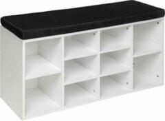 Tectake - Schoenenkast met zitkussen zwart / wit 403174