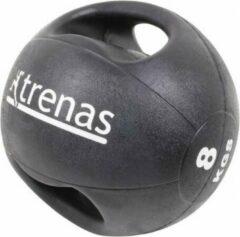 Trenas Medicijnbal - Medicine bal met dubbele handgrepen - Medicine bal Dual Grip - 8 kg - Zwart - (Professioneel gebruik)