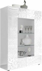 Pesaro Mobilia Vitrinekast Miro 166 cm hoog in hoogglans wit