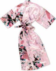 TA-HWA Kimono met Pauw Motief Roze Dames Nachtmode kimono S
