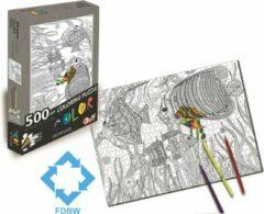 FDBW Puzzel Kleuren Volwassenen - Legpuzzel 500 stukjes - Vissen | Kleurplaat Puzzel | Kleurpuzzels voor Volwassenen - Kinderen Puzzel | Puzzel Kleurplaat - Vis