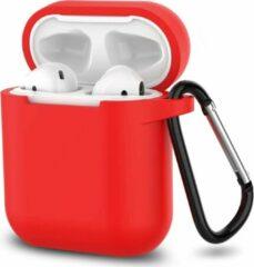 JVS Products Apple Airpods 1 en 2 ultra dunne siliconen cover - Hoesje - extra dunne Apple Airpods siliconen cover met sleutelhanger - Rood