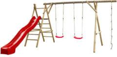 Rode SwingKing Swing King speeltoestel hout met glijbaan Noortje 450cm - rood