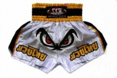 Ali's Fightgear Ali's Fightgear Kickboksbroek Kort Ogen Wit/geel Maat Xl