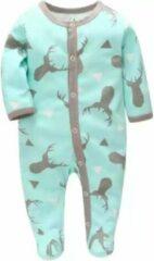 Turquoise BonBini's Baby rompertje - Scandinavian Deer - Ice groen - 68 cm - 3-7 maanden