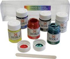 Talens Ecola plakkaatverf potje van 16 ml, etui met 6 potjes in geassorteerde kleuren