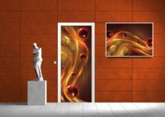 Fotobehangart Deursticker Muursticker Abstract | Oranje | 91x211cm