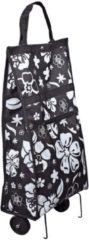 Faltbarer Einkaufs-Trolly mit Blumendesign schwarz/weiß