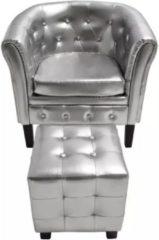 VidaXL Kuipstoel met voetenbankje kunstleer zilverkleurig