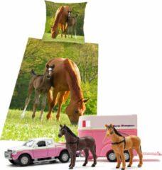 Groene Herding Dekbedovertrek Paard, 135 x 200 cm, Merrie met Veulen , Dekbed eenpersoons - incl. Auto speelset Horse Transport