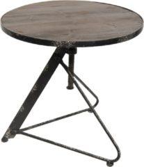 Tafel | Ø 61*61 cm | Zwart | Hout / ijzer | Clayre & Eef | 50282
