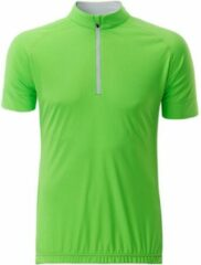 James & Nicholson Fusible Systems - Heren James and Nicholson Half Zip Fietsshirt (Groen/Wit)