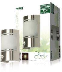 Grijze Ranex 10.010.26 Wandlamp voor Buiten, Bewegingssensor, Geborsteld Aluminium, Halfrond, E27 Fitting