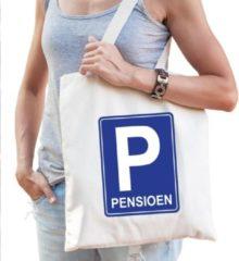 Creme witte Bellatio Decorations Pensioen katoenen cadeau tas beige voor dames - Pensioen / VUT kado shirt