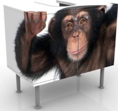 PPS. Imaging Waschbeckenunterschrank - Vergnügter Affe - Badschrank Braun