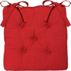 Atmosphera DELUXE stoelkussen rood 5 knopen 40 x 40 H8 cm - 2 lintjes - Extra dik