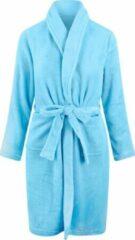 Relax Company Kinderbadjas - lichtblauw - fleece - meisjes & jongens - ochtendjas- maat 164/176