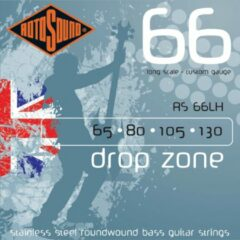 Rotosound Bas snaren RS66LH, 4er 65-130 Drop Zone 66, Stainless Steel