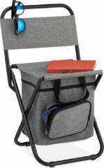 Grijze Relaxdays campingkruk met leuning - inklapbaar krukje - kampeerkruk - campingstoel compact