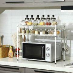 SONGMICS magnetronplank, keukenplank met 2 niveaus, tafelorganizer, met 2 verstelbare planken en 8 haken, wit LGR20WT