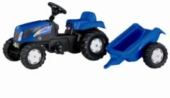 Blauwe Rolly Toys traptractor RollyKid New Holland T7040 junior blauw