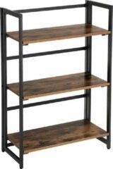 VASAGLE Industrieel | Modern |Kastje | Ladderplank, Vouwbaar opbergrek, 3 Planken industriële boekenplank | Multifunctionele stellingunit | Eenvoudige montage met metalen frame | Voor woonkamer, slaapkamer en gang Rustiek | Bruin