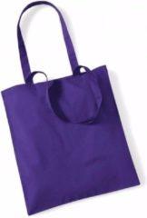 Paarse Westford Mill Katoenen tasje paars 42 x 38 cm - boodschappentas / shopper / draagtas