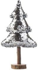 Cosy and Trendy Decoratie Houten Pailletten Kerstboom Zilver 32 Cm - Kerstversieringen/kerstdecoraties