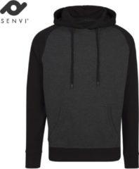 Senvi - Raglan Hoodie - Kleur Zwart/Grijs Melee - Maat XXL - SVBY077