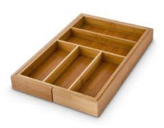 Bruine Relaxdays Bestekbak bamboe hout - Uitschuifbaar 30-48 cm - Houten bestekla - Besteklade.