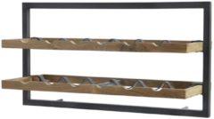 Bruine D-Bodhi Shelfmate D-Bodhi - WINEMATE - WIJNREK - Teakhout - Type A voor 12 flessen - Hoog 35 x Breed 65 x Diep 25cm