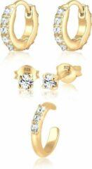 Gouden Elli Oorbellen Oorringen Stekers Earcuff Set van 3 Swarovski® Kristallen 925 Zilver verguld