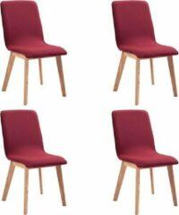Merkloos / Sans marque Eetkamerstoelen (INCL anti kras viltjes) Stof Rood 4 STUKS / Eetkamer stoelen / Extra stoelen voor huiskamer / Dineerstoelen / Tafelstoelen / Barstoelen