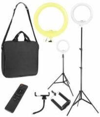 Zwarte Merkloos / Sans marque LED Ring Lamp - Selfie Lamp - 30W - Statief, Houder en Afstandsbediening | Make-up Lamp | Vlog | Mobiele Fotostudio voor Instagram / TikTok / Youtube