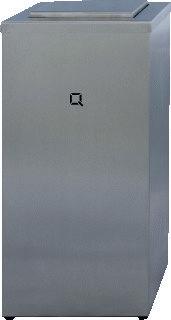 Afbeelding van Qbic-line afvalbox, RVS, (hxbxd) 53.1x26.6x26.6cm, 30L, met tuimelklep, gesl
