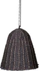 PTMD Lars zwarte hangende lampenkap van geweven zeegras maat in cm: 40 x 40 x 50 - Zwart