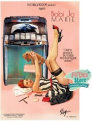 Bennies Fifties Wurlitzer 2000 Jukebox Pin-Up Bobi Jo Marie Zwaar Metalen Bord 92 x 61 cm