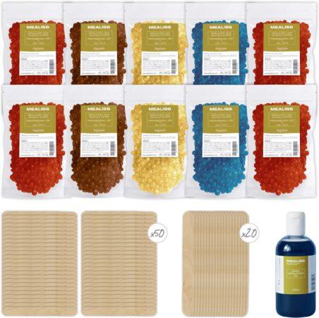 Afbeelding van PLASTIMEA Wax ontharen - MEALISS® 1 KG hypoallergene wax - 20 houten spatels - 100ml olie