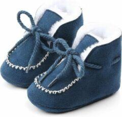 Jodeledokie Blauwe laarsjes met sier stiksel - Katoen - Maat 19/20 - Zachte zool - 6 tot 12 maanden