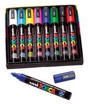 Doos met 8 markeerstiften Uni Ball Posca geassorteerde kleuren met kegelpunt 1,8 tot 2,5 mm