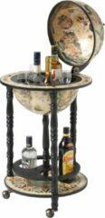 Bruine Brulo Wereldbol Globebar Wijnrek - ⌀ 33 cm - Zwart/wit - Vespucci