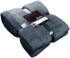 Blauwe Unique Living Justin Fleece Plaid - Fleece Polyester - 150x200 Cm - Dark Blue