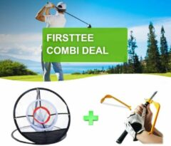 Rode Firsttee - COMBI DEAL - AANBIEDING - Chippingnet & Swing Guide - met GRATIS opbergtas - Verbeter je Swing - Golftrainingsmateriaal - Chipping 1 GAT- Net - Swingtrainer - Golf accessoires - Golfswing - Cadeau - Golf sport - Training - Golfset
