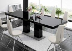 Zwarte Hubertus Meble Uitschuifbare Eettafel Linosa 160cm tot 260cm - Hoogglans Zwart