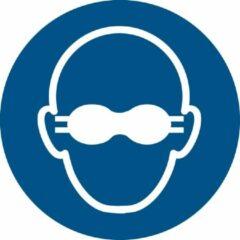 Blauwe Tarifold Pictogram bordje Opaak oogbescherming verplicht | Ø 100 mm - verpakt per 2 stuks